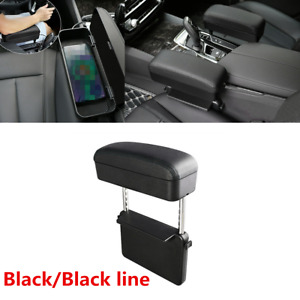 Universal Center Console Black Pu Armrest Box For Car Seat Gap Elbow Support