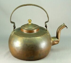Antique 1800 S Large Copper Tea Kettle Dovetailed Joints Anglo American