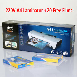 220v Home office A4 Laminating Machine Hot cold 20 Laminator Film Pouches