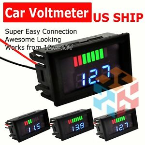 12v 60v Car Marine Motorcycle Led Digital Voltmeter Voltage Meter Battery Gauge
