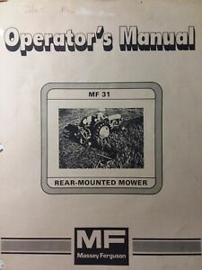 Massey Ferguson Mf 31 Rear Mounted 3 point Tractor Sickle Mower Owners Manual 76