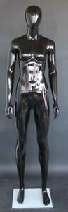 5 11 Glossy Black Athletic Body Torso Female Abstract Head Mannequin Sfw51ehb