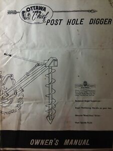 Ottawa Farm Chief 3 point Tractor Post Hole Digger Drill Owner Parts Manual