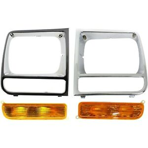 Headlight Door For 97 2001 Jeep Cherokee Set Of 4 Driver And Passenger Side