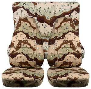 Full Set Front Rear Camo Desert Storm Car Seat Covers Fits 1989 1998 Geo Tracker