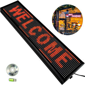 Vevor Led Scrolling Sign 40 x8 P10 Red Programmable Advertising Message Display