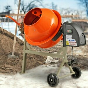 Portable Electric Concrete Cement Mixer 2 1 5cuft Stucco Barrow Machine Mortar