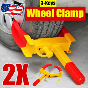 2pcs Heavy Duty Security Car Wheel Clamps Tyre Clamp Wheel Lock Parking Boot Us