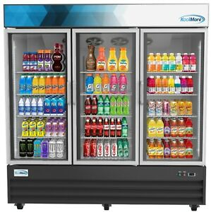 3 Door Glass Cooler Commercial Refrigerator Merchandiser Beverage Cooler 78