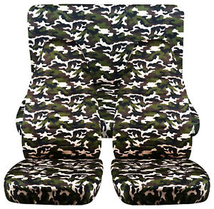 Full Set Front rear Military Camo 78 Car Seat Covers Fits 1989 1998 Geo Tracker
