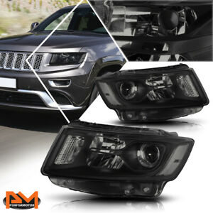 For 14 16 Jeep Grand Cherokee Projector Headlight lamp Smoked Housing Clear Side