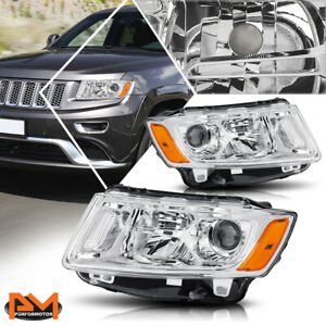 For 14 16 Jeep Grand Cherokee Projector Headlight Lamp Chrome Housing Amber Side