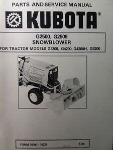 Kubota G3200 Garden Tractor Snow Thrower Implement G2500 Service