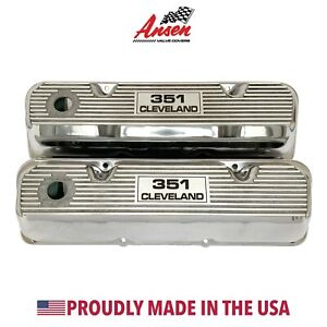 Ford 351 Cleveland Valve Covers Polished Die cast Aluminum Ansen Usa