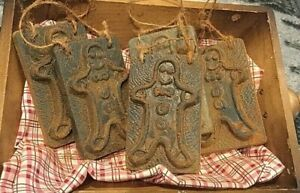 Primitive Colonial 5pc Gingerbread Man Blackened Beeswax Ornies Christmas