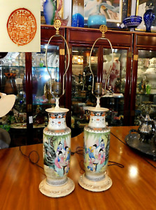 Pair Of Antique Rare Chinese Hand Painted Scenery Porcelain Lamps Signed