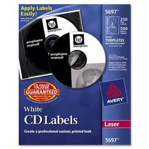 Avery Cd dvd And Jewel Case Spine Label 250 Pack Circle 2 sheet Laser