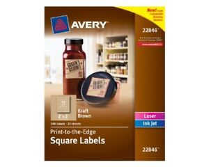 Avery Print to edge Kraft Brown Square Labels 2 Width X 2 Length 300