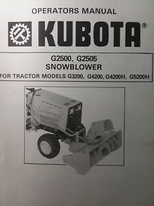 Kubota G3200 Garden Tractor Snow Thrower Implement G2500 Owner Parts Manual