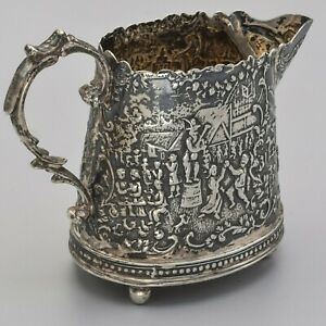 Antique English Sterling Silver Etched Creamer Cup Mug 72 4 Grams