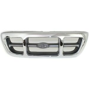 Grille For 98 2000 Ford Ranger Chrome Shell W Gray Insert Plastic