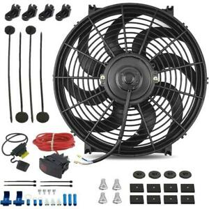 14 Inch Electric Auto Radiator Cooling Fan 12v Manual Toggle Wiring Switch Kit