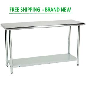 24 X 60 Adjustable Table Work Prep Undershelf Restaurant Indoor Stainless Steel