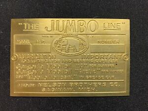 Jumbo Nelson Brothers Brass Data Plate Tag Antique Gas Engine Hit Miss