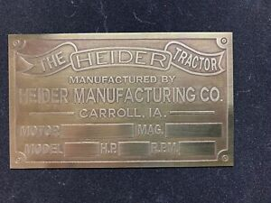 Heider Brass Data Plate Tag Antique Tractor Hit Miss