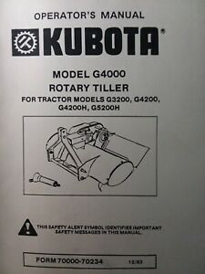 Kubota G5200h Garden Tractor 3 point Tiller Implement G4000 Owner