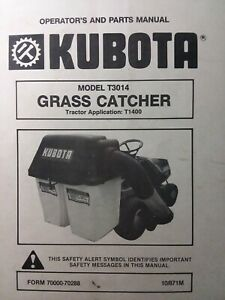Kubota T1400 Tractor Lawn Mower Grass Catcher T3014 Owner Parts Manual