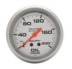 Auto Meter Pro Comp 2 5 8in Silver Liq fill Oil 0 200 Psi