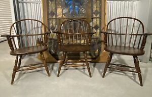 Antique Set Of 3 Windsor Arm Chairs Margeson S Portsmouth Nh Label Beautiful