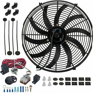 17 Inch Electric Radiator Cooling 12 Volt Fan Adjustable Thermostat Wiring Kit