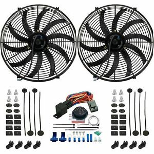 Dual 17 Inch Electric Radiator Fan s Adjustable Thermostat Control Switch Kit