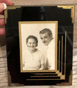 Vtg Art Deco Glass Brass Frame With Post Card Photo Of Couple 6 X5