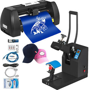 Heat Press 5 5 x3 5 Vinyl Cutter Plotter 14 Sublimation Swing Away Hat Cap