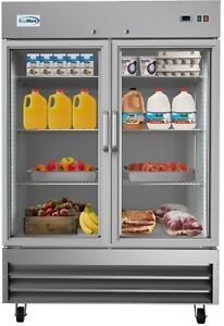Stainless Steel 2 Glass Door Commercial Reach In Refrigerator Cooler 47 Cu Ft