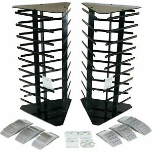 200 Gray Hanging Earring Cards And 2 Revolving Rotating Display Stands