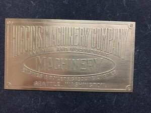 Higgins Machinery Company Brass Data Plate Tag Antique Gas Engine Hit Miss