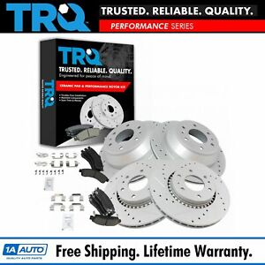 Trq Front Rear Performance Drilled Slotted Rotor Ceramic Brake Pad Kit