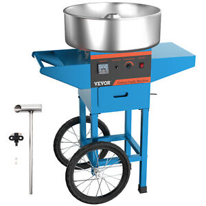 Electric Commercial Cotton Candy Machine floss Maker Blue Cart Stand
