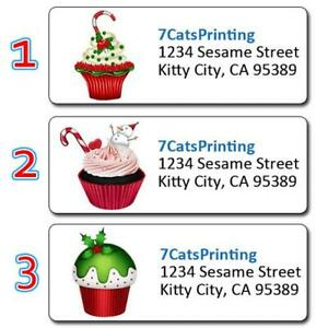30 Personalized Christmas Return Address Labels Cupcakes Candy Cane Snowman