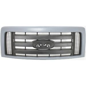 Grille For 2009 2014 Ford F 150 Gray Shell W Textured Black Insert Plastic