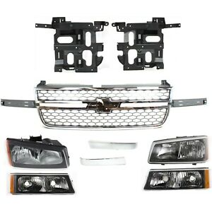Headlight Grille Turn Signal Light For 2003 2006 Chevrolet Silverado 2500 Hd Kit