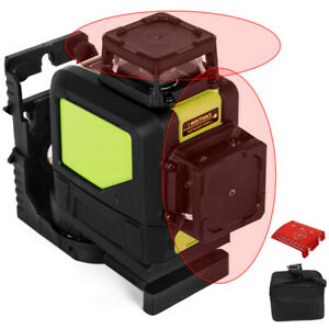 Rotary Laser Level Kit Self leveling 8 Line Red Beam 98 Range 3d Cross 360