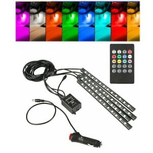 48 Led 4pcs Car Interior Atmosphere Neon Lights Strip Music Control
