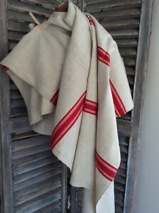 Antique French Linen Wide Red Stripe Heavy Rustic Homespun Unsued 1900 32 X67