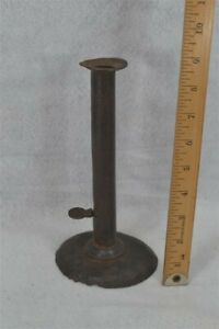 Hog Scraper Push Up Candle Stick Holder Tall 9 Iron Antique Original 18th 19 C