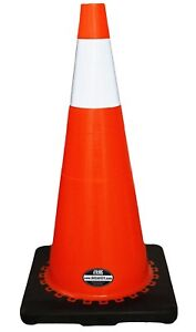 28 Rk Orange Safety Traffic Pvc Cones Black Base With One Reflective Collar